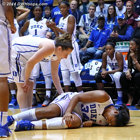 Lyne? Belton went down with an apparent knee injury with just 15 seconds left in the game.