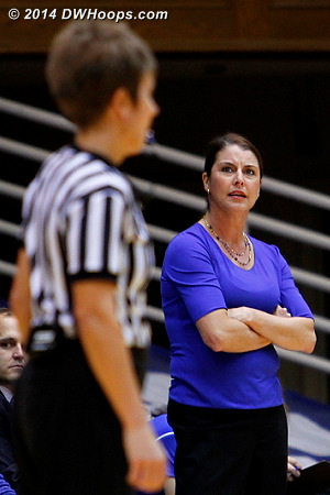 Not pleased with Karen Gruca in a first half where Duke fouled often  - Duke Tags: Joanne P. McCallie