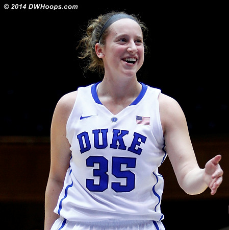 Jenna made two trips to the free throw line, making two of four tries  - Duke Tags: #35 Jenna Frush