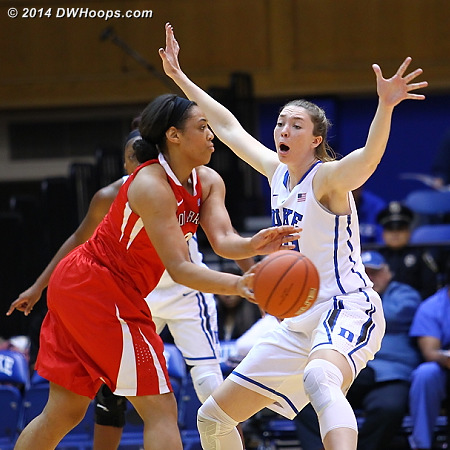 With Stevens on the bench with a sore foot, Mathias was the first Duke reserve inserted  - Duke Tags: #32 Erin Mathias