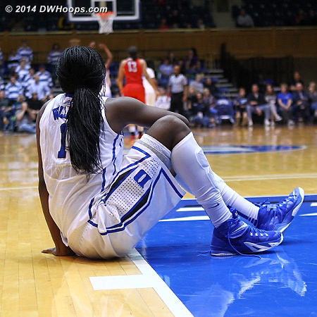 Elizabeth Williams watches the action on the other end of the court after spraining an ankle.  Her status for Sunday's game at Texas A&M is uncertain.