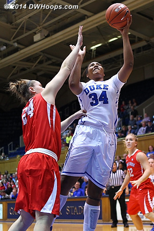 Lyne? finished with 6 points, a perfect 3-3 from the floor  - Duke Tags: #34 Lyne� Belton