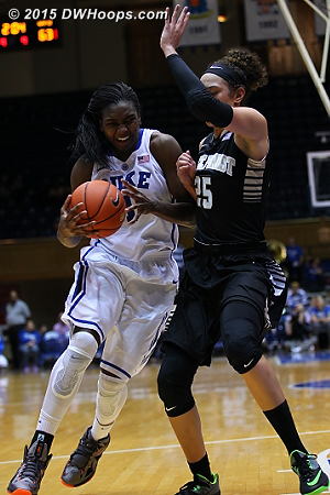 The battle between Williams and Hamby continued to the end  - Duke Tags: #1 Elizabeth Williams