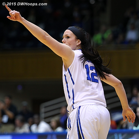 Riggs thanks Amber Henson, who set her up for an open corner three  - Duke Tags: #12 Mercedes Riggs