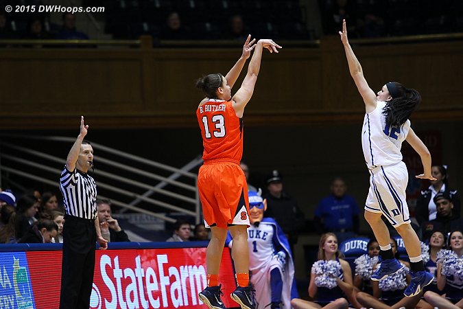 Butler hit five second half threes, cuing the Cuse comeback