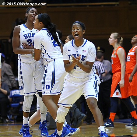 Ka'lia Johnson (right) celebrates the Duke win over Syracuse along with Amber Henson and Oderah Chidom.  - Duke Tags: #14 Ka'lia Johnson