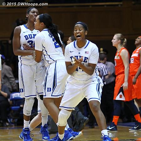 Ka'lia Johnson (right) celebrates the Duke win over Syracuse along with Amber Henson and Oderah Chidom.