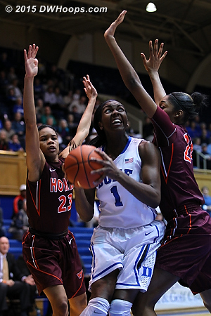 Tech swarmed Williams in the post leaving other Blue Devils with better scoring chances  - Duke Tags: #1 Elizabeth Williams