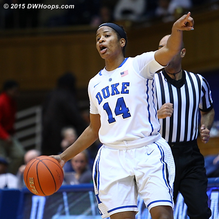 Directing the Duke offense in the first half  - Duke Tags: #14 Ka'lia Johnson