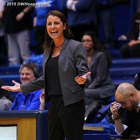 Coach P and Hernando are incredulous at a call where it appeared Ka'lia Johnson fouled by having another player go over her back  - Duke Tags: Joanne P. McCallie , Hernando Planells