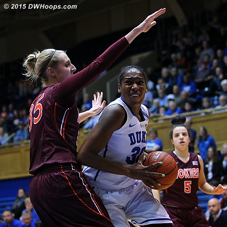 Intensity replaces the passing smile as Henson goes to the basket  - Duke Tags: #30 Amber Henson