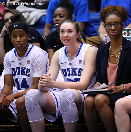 Our early favorite for the 2015 International Woman of Mystery Award is assistant coach Rene Haynes, sporting yet another different look on the Duke bench  - Duke Tags: Rene Haynes, Duke Bench, #32 Erin Mathias