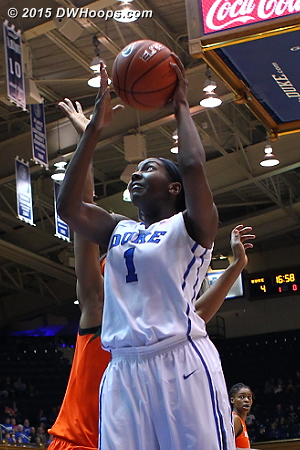Jassany Williams was there to contest Elizabeth Williams until heading to the bench with two fouls at the 15:44 mark  - Duke Tags: #1 Elizabeth Williams