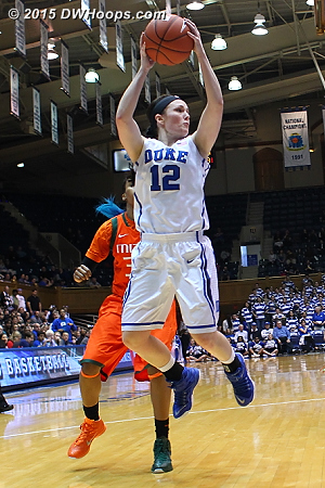 Riggs grabs a rebound nullified by a Duke foul  - Duke Tags: #12 Mercedes Riggs