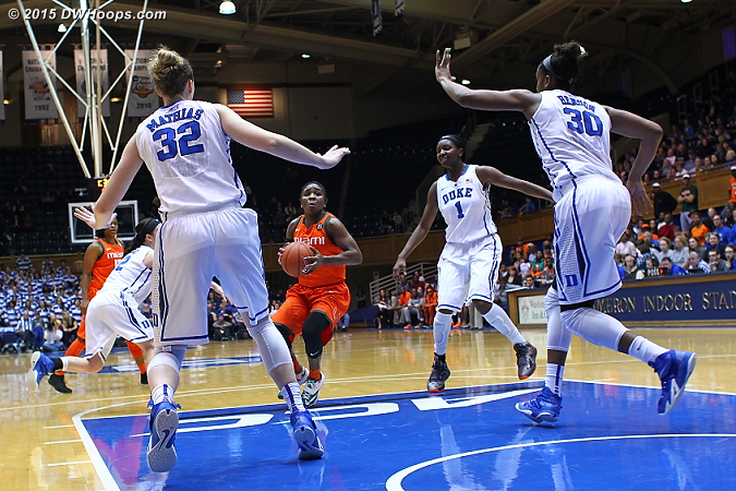 Even with Oderah Chidom out of the game, Duke still had far more posts to deny the lane than Miami did to attack it