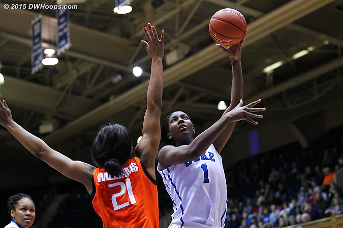 Back to back baskets in the paint from Elizabeth Williams helped Duke gain a working margin  - Duke Tags: #1 Elizabeth Williams