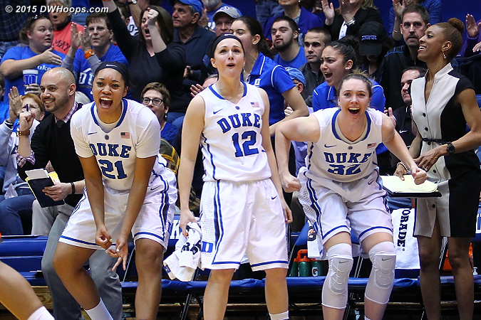 The Duke bench reacts to a Greenwell triple that boosted Duke's lead to 40-27.  - Duke Tags: #32 Erin Mathias, #21 Kendall McCravey-Cooper, #12 Mercedes Riggs, Hernando Planells, Rene Haynes