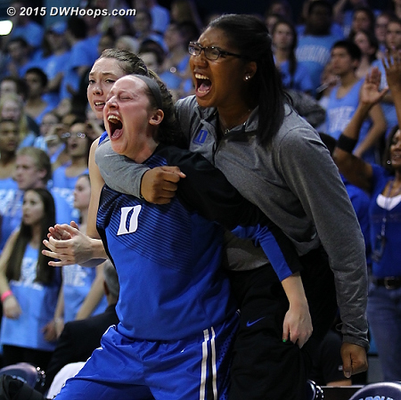Somebody stop me!  - Duke Tags: #1 Elizabeth Williams , Duke Bench, #34 Lyne� Belton