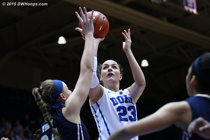 Becca was back in double digits again and moved into second place on the Duke freshman three pointers list