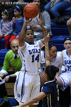 Ka'lia nails a three in front of the Duke bench  - Duke Tags: #14 Ka'lia Johnson