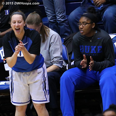 DWHoops Photo  - Duke Tags: Duke Bench, #35 Jenna Frush, #34 Lyne� Belton