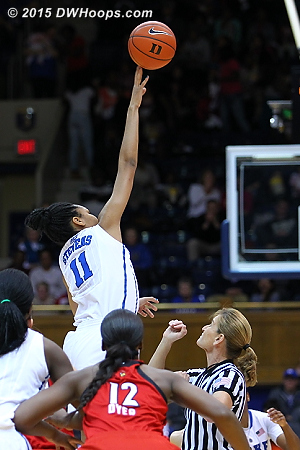 Stevens was tallest for the opening tip, but Louisville gained possession  - Duke Tags: #11 Azurá Stevens