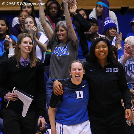 Hey Jenna's mom is in on the fun as Duke is leading by 17  - Duke Tags: Michele Van Gorp, Duke Bench, #35 Jenna Frush, #34 Lyneé Belton
