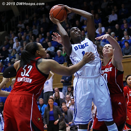 Intensity in the paint as Williams was fouled again and again  - Duke Tags: #1 Elizabeth Williams