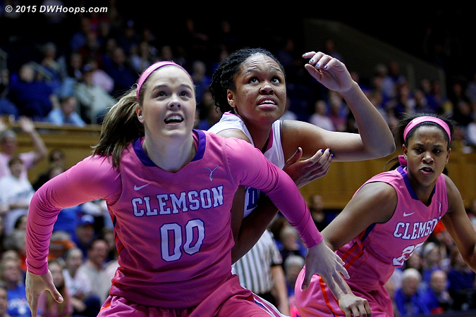 Shelbie Davenport, who scored 13 for Clemson, boxes out Stevens on a free throw  - Duke Tags: #11 Azur� Stevens
