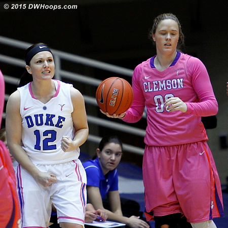 Riggs forced a Clemson turnover, to the dismay of Davenport  - Duke Tags: #12 Mercedes Riggs