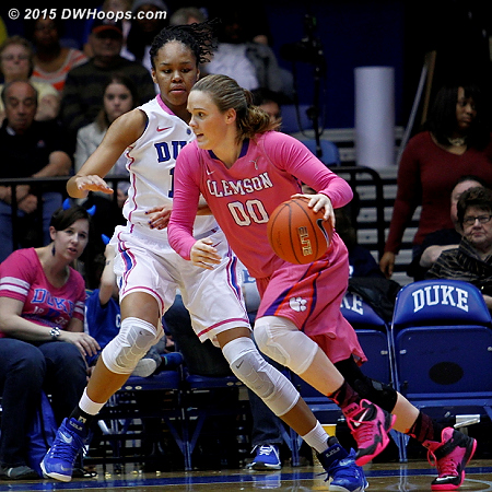 Shelbie Davenport works to get around Azura Stevens  - Duke Tags: #11 Azur� Stevens