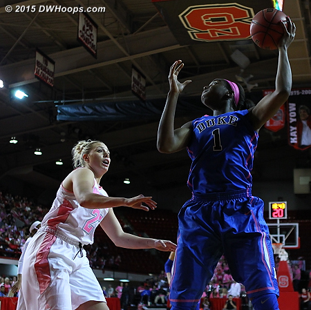 DWHoops Photo  - Duke Tags: #1 Elizabeth Williams  - NCSU Players: #25 Carlee Schuhmacher