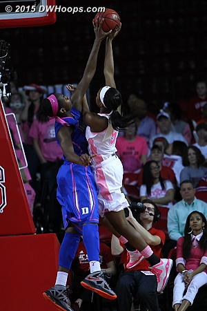 Clean block by Williams  - Duke Tags: #1 Elizabeth Williams  - NCSU Players: #5 Chelsea Nelson
