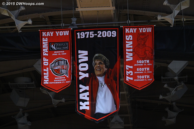 Kay Yow banners prominent in the Reynolds rafters for the final Hoops for Hoop game before major renovations.