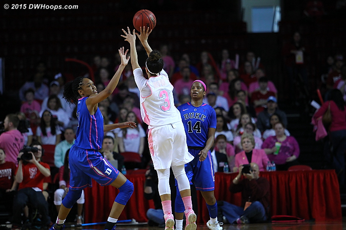 Miah Spencer turned a Duke free throw miss into a first-half buzzer beating three  - Duke Tags: #11 Azur� Stevens, #14 Ka'lia Johnson - NCSU Players: #3 Miah Spencer