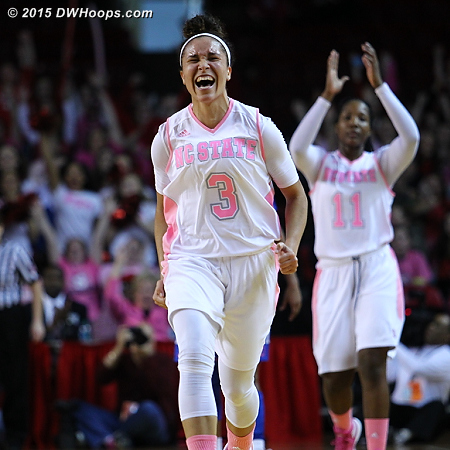 Spencer celebrates her buzzer beating three, NC State leads 31-25 at half having shot 7-13 from that range.  - NCSU Players: #3 Miah Spencer