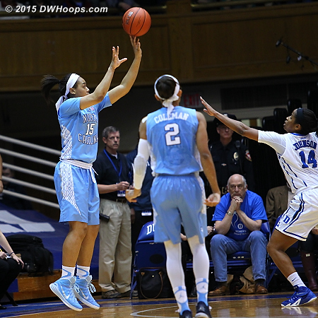 The first of a parade of wide open corner threes for UNC, they were an astonishing 7-11 in the first half despite coming in shooting under 30% from distance as a team.  - UNC Players: #15 Allisha Gray