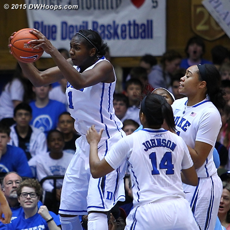 Elizabeth Williams grabs a rebound - Duke dominated the paint  - Duke Tags: #1 Elizabeth Williams