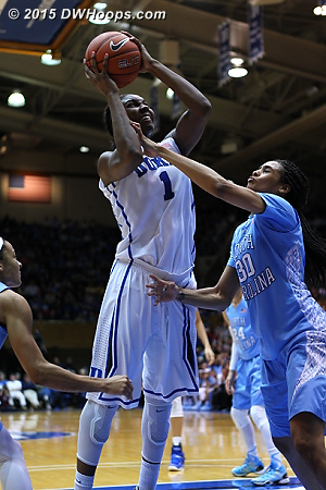 DWHoops Photo  - Duke Tags: #1 Elizabeth Williams  - UNC Players: #30 Hillary Summers