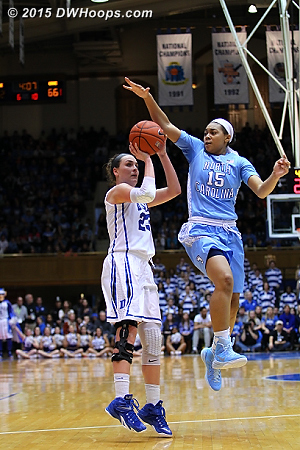 Greenwell had no idea that Gray was coming behind for a fantastic block  - Duke Tags: #23 Rebecca Greenwell - UNC Players: #15 Allisha Gray