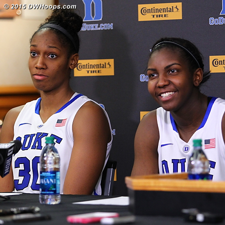 In the media room  - Duke Tags: #1 Elizabeth Williams , #30 Amber Henson