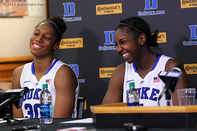 One of those lighter moments that we'll miss from these two, as it will be their final presser in the Brill Media Room  - Duke Tags: #1 Elizabeth Williams , #30 Amber Henson