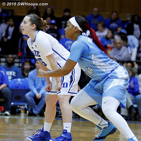 Awaiting the opening tip with UNC's Brittany Rountree.  - Duke Tags: #35 Jenna Frush