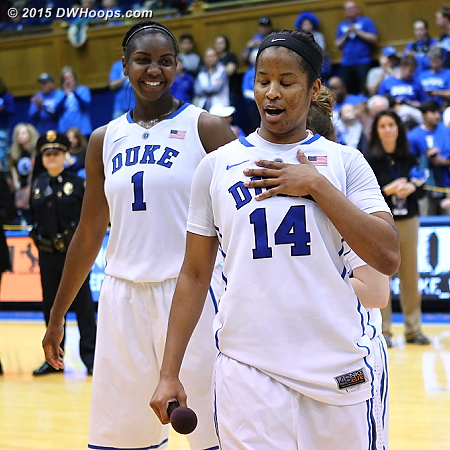 DWHoops Photo  - Duke Tags: #1 Elizabeth Williams , #14 Ka'lia Johnson