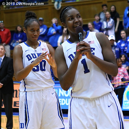 DWHoops Photo  - Duke Tags: #1 Elizabeth Williams , #30 Amber Henson