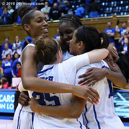 DWHoops Photo  - Duke Tags: #1 Elizabeth Williams , #14 Ka'lia Johnson, #30 Amber Henson, #35 Jenna Frush
