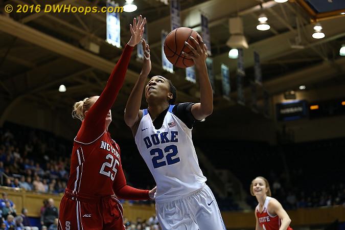 DWHoops Photo  - Duke Tags: #22 Oderah Chidom - NCSU Players: #25 Carlee Schuhmacher