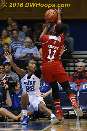 Chidom drew this charge, a bright spot on a night where she was responsible for eight turnovers  - Duke Tags: #22 Oderah Chidom - NCSU Players: #11 Jennifer Mathurin