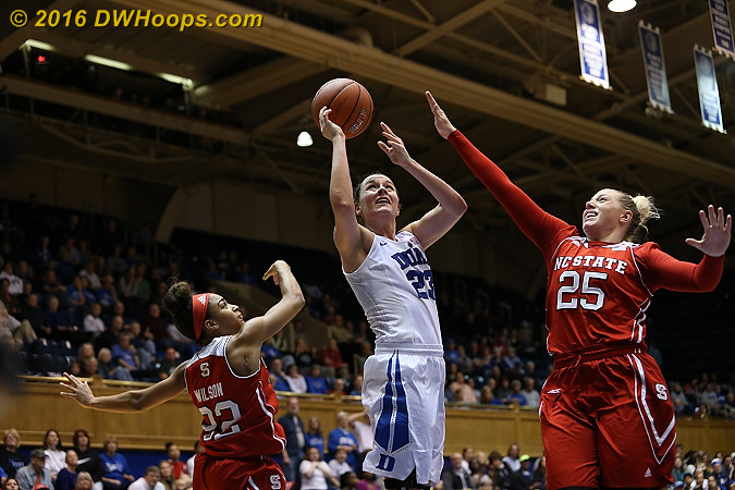 Becca was unable to get it going in the first half offensively, 0-5 from the floor plus a charge  - Duke Tags: #23 Rebecca Greenwell - NCSU Players: #22 Dominique Wilson, #25 Carlee Schuhmacher