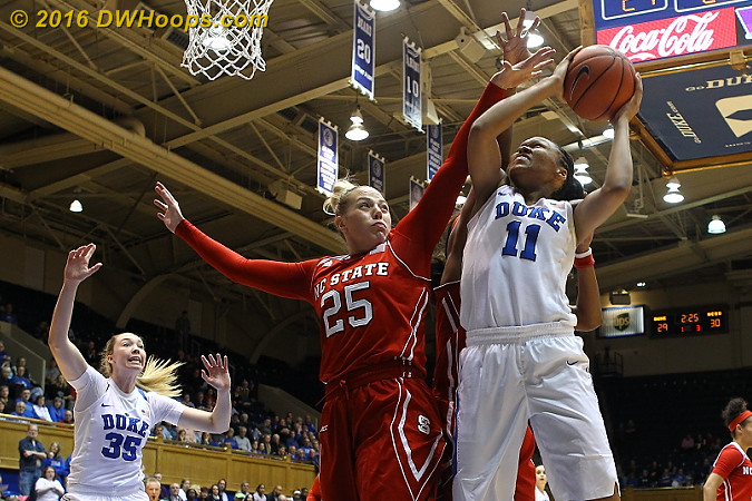 Stevens was fouled from behind with Duke trailing 30-29 but made only one free throw, letting State regain the lead before halftime.  - Duke Tags: #11 Azur� Stevens - NCSU Players: #25 Carlee Schuhmacher